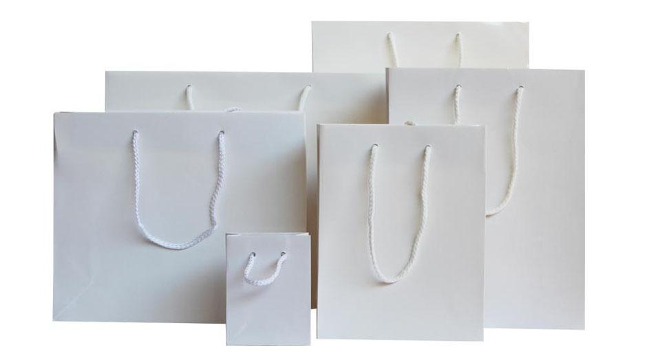Papiertragetaschen exklusiv in weiß hochglanz mit Kordel in Taschenfarbe in der Größen mini midi medium maxi und big