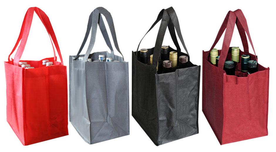 Tragetaschen für 6 Flaschen mit schützendem Trennfach in den Farben rot grau schwarz und bordeaux 6er Flaschentasche aus Non Woven günstig