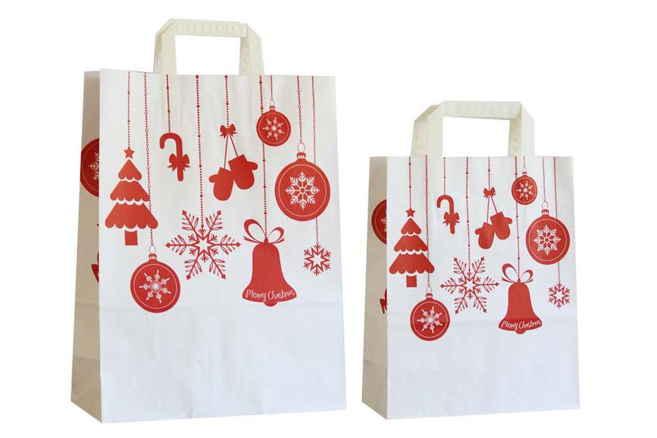 Weihnachtstüten Weihnachtsschmuck festlich bedruckte Weihnachstüte in rot mit Weihnachs Schmuck bedruckt als Weihnachts Geschenk Tüte