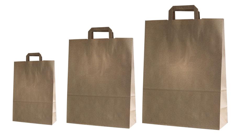 Papiertaschen und Papiertüten in braun