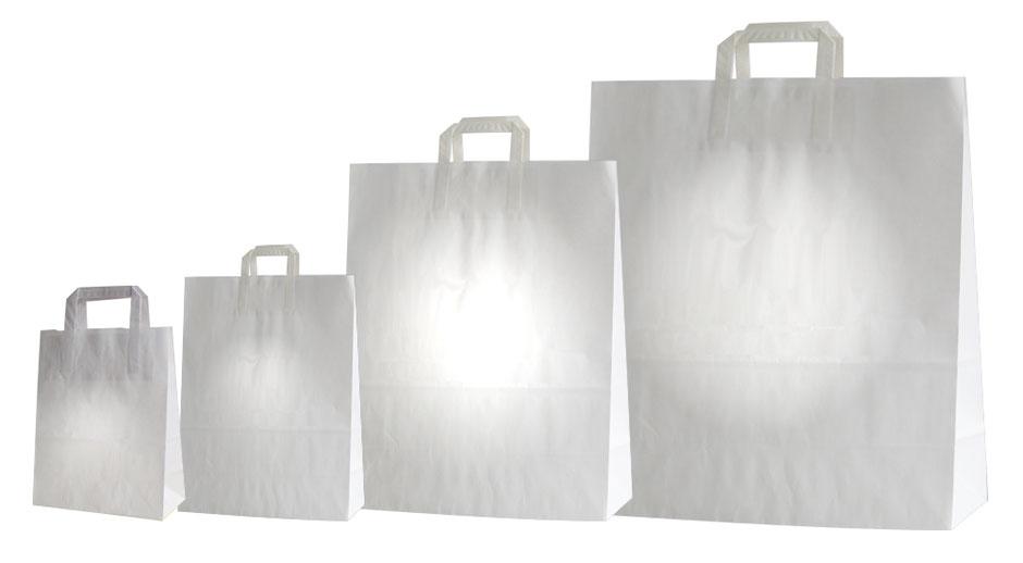 Papiertaschen weiß mit Papiergriff Flachbandgriff Flachhenkel günstige Papiertüten günstig