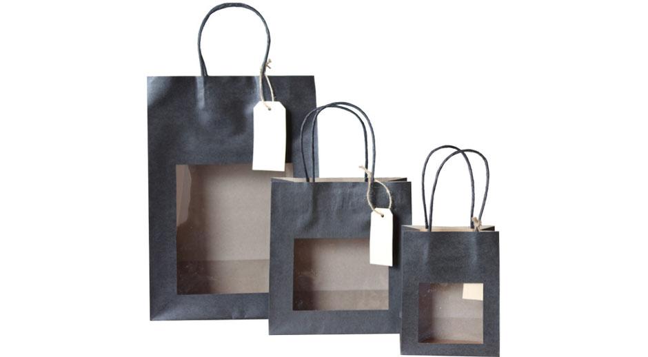 Papiertüten mit Sichtfenster schwarz in 3 Größen aus Papier braun glatt