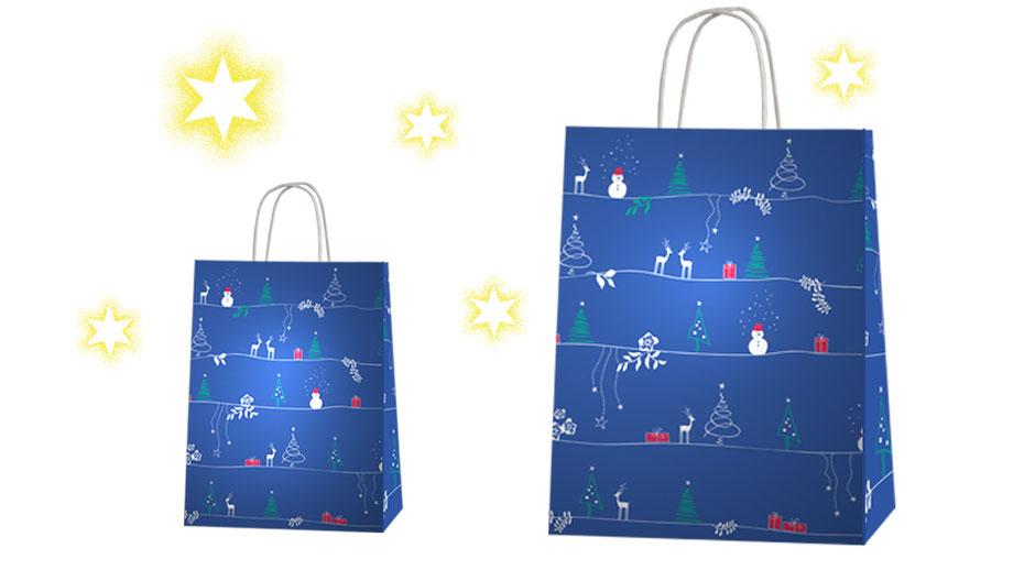 Weihnachtstaschen Winterzauber blau bedruckte Weihnachtasche mit weißen Griffen aus Papier Papierkordeln welche innen eingeklebt wurden