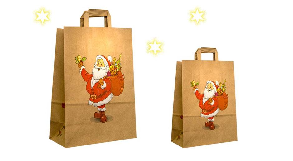 Papiertüten Weihnachten mit Nikolaus Weihnachtsmann Motiv Santa bedruckt aus Papier braun 80 g/qm mit Papiergriffen als Geschenktaschen mit Weihnachtsmotiv