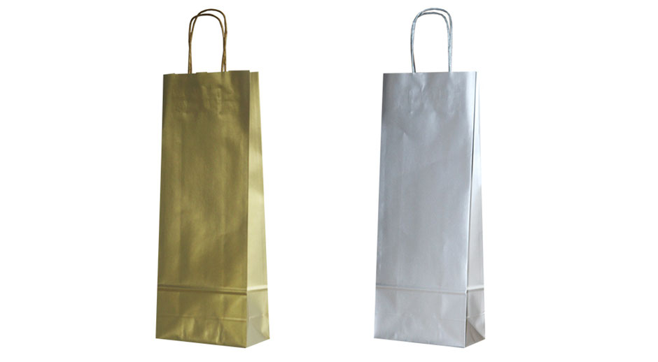 Flaschentasche und Tragetaschen für Flaschen in gold oder silber mit passender gedrehten Papierkordel Flaschentaschen silber als Werbe Geschenk oder Transport Tasche für Flaschen