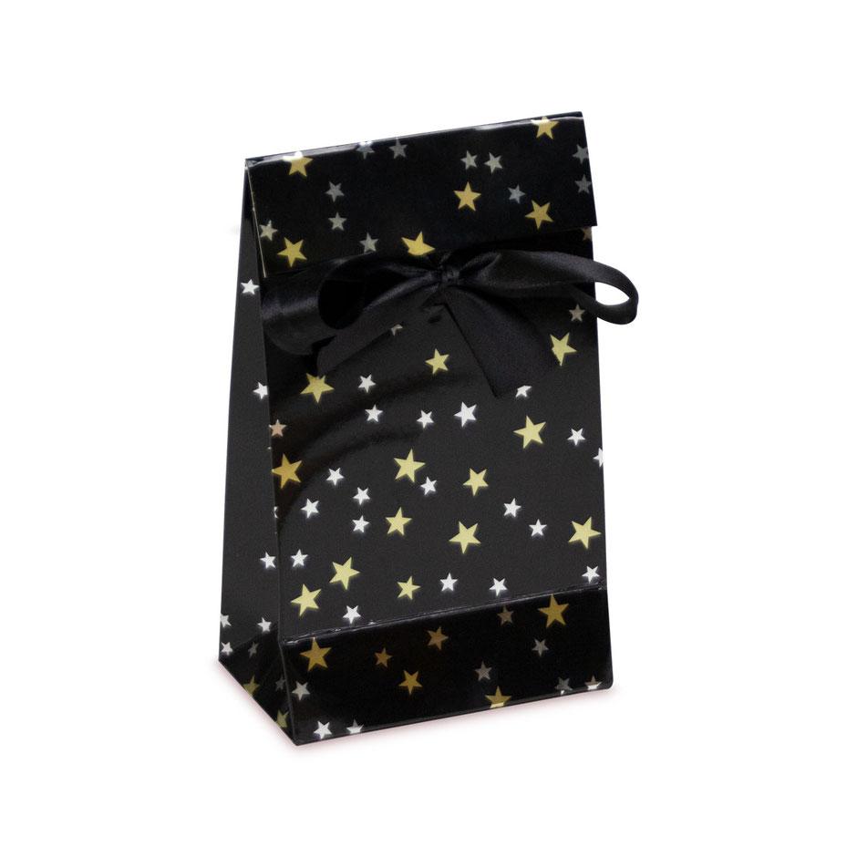 Geschenktaschen Weihnachten mit Klappe und Satinband als Verschluss in der Größe 12 x 7 x 20 cm