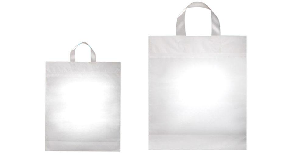 Schlaufentaschen transparent mit Trage-Schlaufen Griffe aus milchig gefrosteter transluzenter Folie