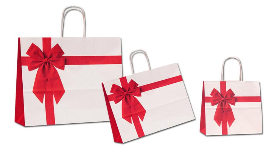 Geschenktaschen Päsenta aus Papier mit roter Schleife Geschenkband bedruckt diese Geschenktasche eignet sich nicht nur als Weihnachstasche