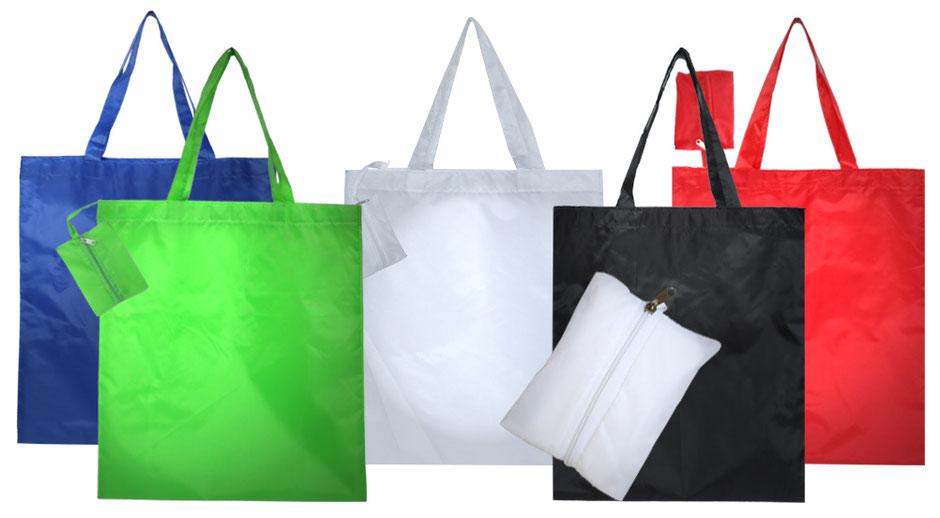faltbare Einkaufstaschen Taschen und Tragetaschen aus Polyester mit zusätzlicher kleiner Innentasche mit Reißverschluss in verschiedenen Farben wie blau schwarz rot grün oder weiß erhältlich