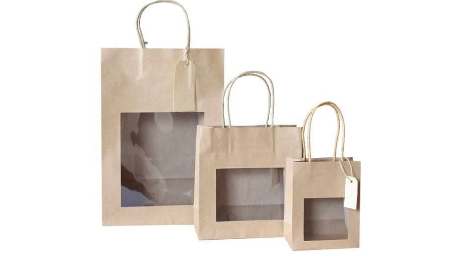 Papiertaschen mit Sichtfenster Fenster in braun