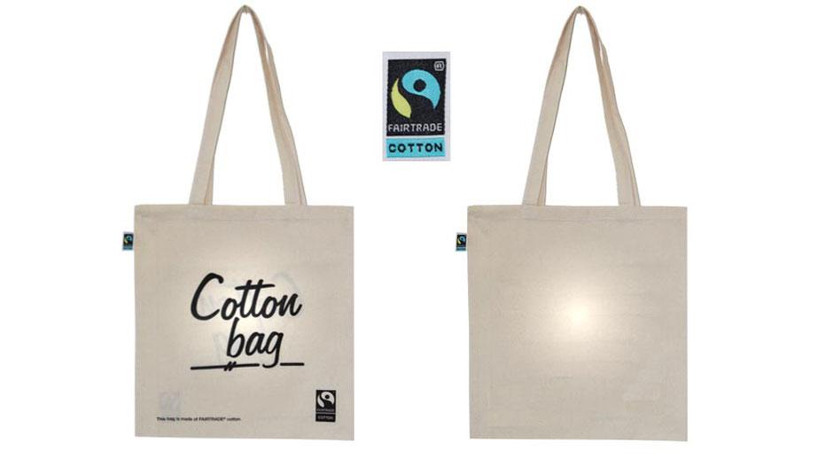 Baumwolltaschen aus Fairtrade Baumwolle im Format 38 x 42 cm Farbe natur beige