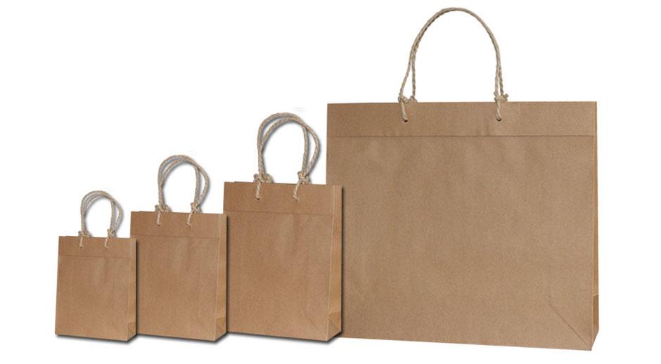 Ökotaschen aus Papier Papiertaschen braun mit Umschlag und speziellen eingeknoteten Papierkordeln in verschiedenen Formaten