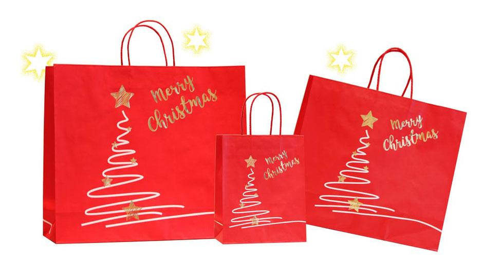 Weihnachtstüte Christmas  aus Papier vollflächig rot mit Weihnachtsmotiv und Heißprägung gold Merry Christmas bedruckt Weihnachtstüten mit eingeklebter Baumwollkordel