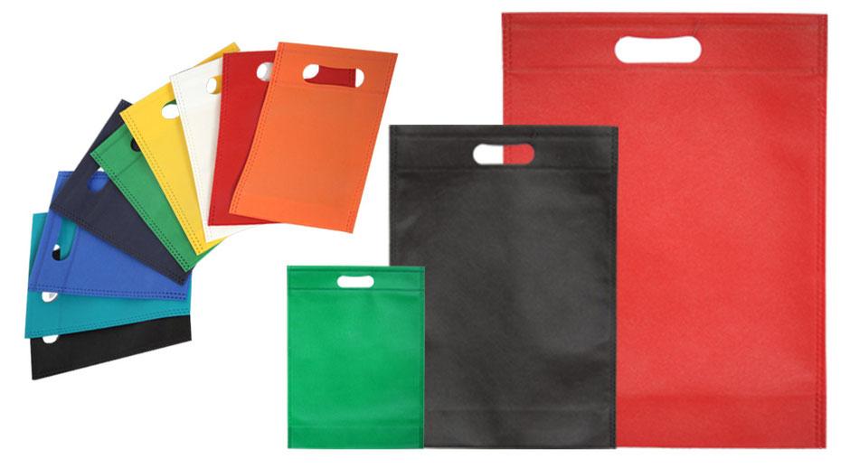 alternative zu Kunststoff und Plastiktaschen bzw Plastiktüten sind unsere Vliestaschen aus Non Woven mit integriertem Griff Stanzgriff oder auch Griffloch genannt in den Farben weiß rot grün schwarz gelb türkis dunkelblau orange und weiteren Farbdesign