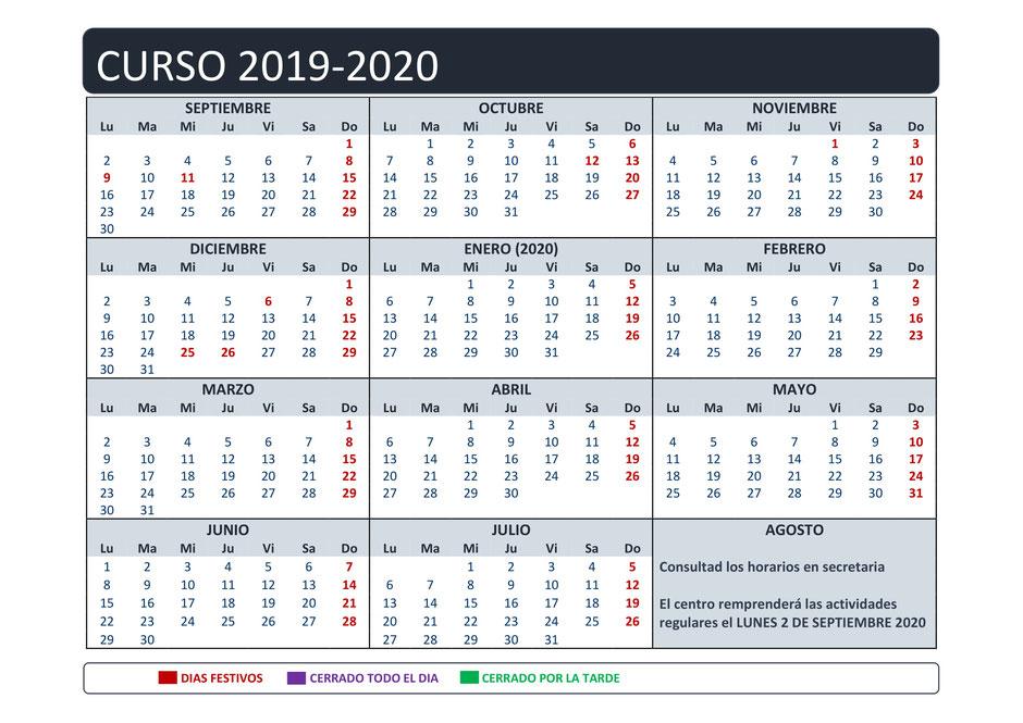 *** Calendario sujeto a modificaciones