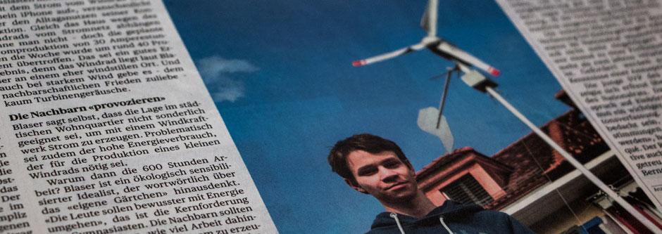Ausschnitt des Zeitungsberichtes im Bund - Windenergie aus dem Garten