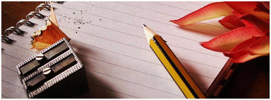 Notizblock |  Bleistift und Spitzer | Kontaktformular | Dominik Blaser Bern