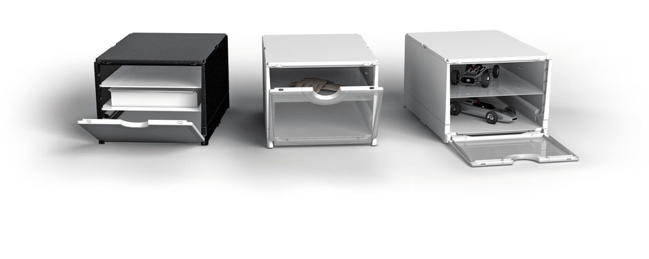 stabile Plastikboxen mit Einlegeböden und transparenter Frontklappe