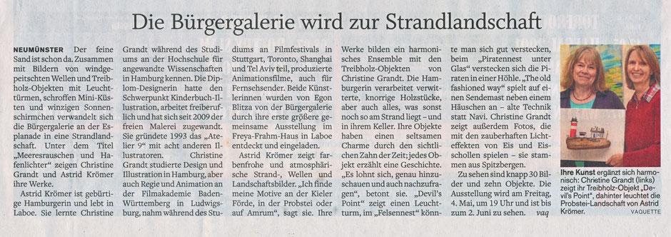 www.astrid-kroemer-malerei.de: Artikel im Holsteiner Courier vom 3. Mai 2018 zur Ausstellung in der Bürgergalerie Neumünster