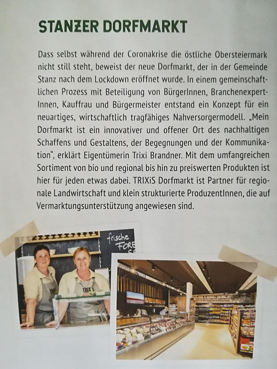 """Auszug aus der Imagebroschüre """"Obersteierstark"""", Beilage im Der Standard, 18. - 19.09.2020 (c) TRIXiS Dorfmarkt"""