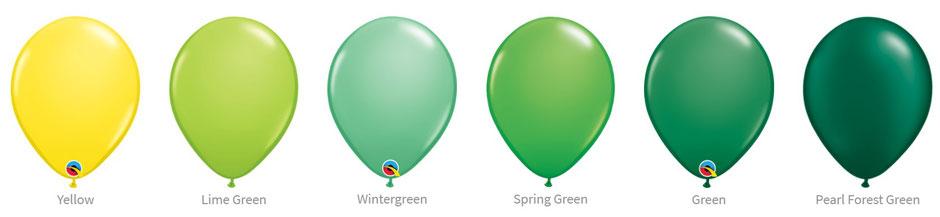 Ballon Luftballon Latexballon Qualatex Premium Qualität Bio Eco kompostierbar grün lime apfelgrün dunkelgrün hellgrün gelb chrome pearl glanz Heliumballon mit Helium Versand verschicken befüllt