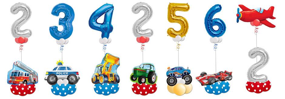 Fahrzeuge Feuerwehr Polizei Bagger Traktor Monster Truck Formel 1 Rennwagen Flugzeug Geburtstag Überraschung Kindergeburtstag Junge Luftballon Ballon Bouquet Geschenk XXL Zahl große Geburtstagszahl