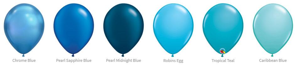 Ballon Luftballon Latexballon Qualatex Premium Qualität Bio Eco kompostierbar blau sapphire dunkelblau hellblau türkis chrome pearl glanz Heliumballon mit Helium Versand verschicken befüllt