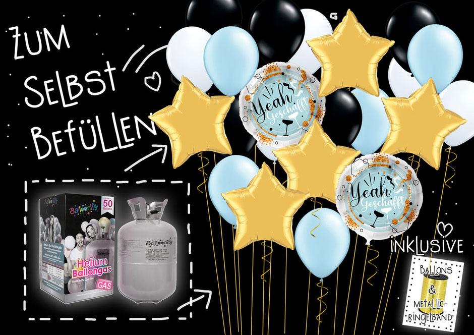 Ballons Helium Ballongas Gas Heliumballons Flasche Einwegflasche zum Selbstbefüllen befüllen selbst DIY aufblasen selber Event Party Abi Schule Yeah geschafft Sterne Latexballons bis zu 50 Set