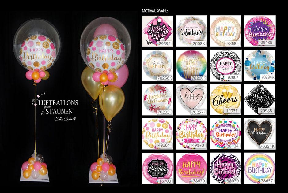 Ballon  Bouquet  Bubble bunt elegant  exlusiv   Geburtstag Geschenk  Happy Birthday  Luftballon  witzig
