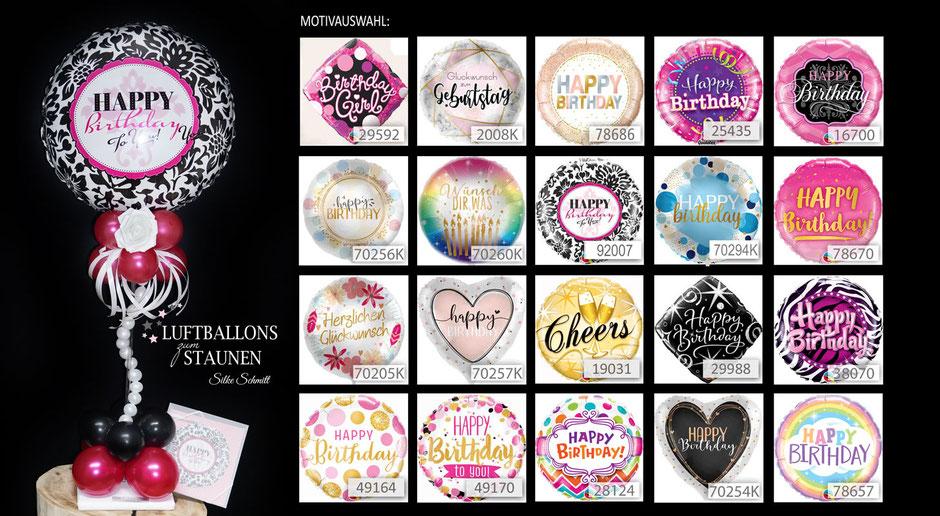 Luftballon Ballon Geschenk Bouquet Ständer Happy Birthday Geburtstag Cheers elegant exlusiv Papierrose filigran Ständer