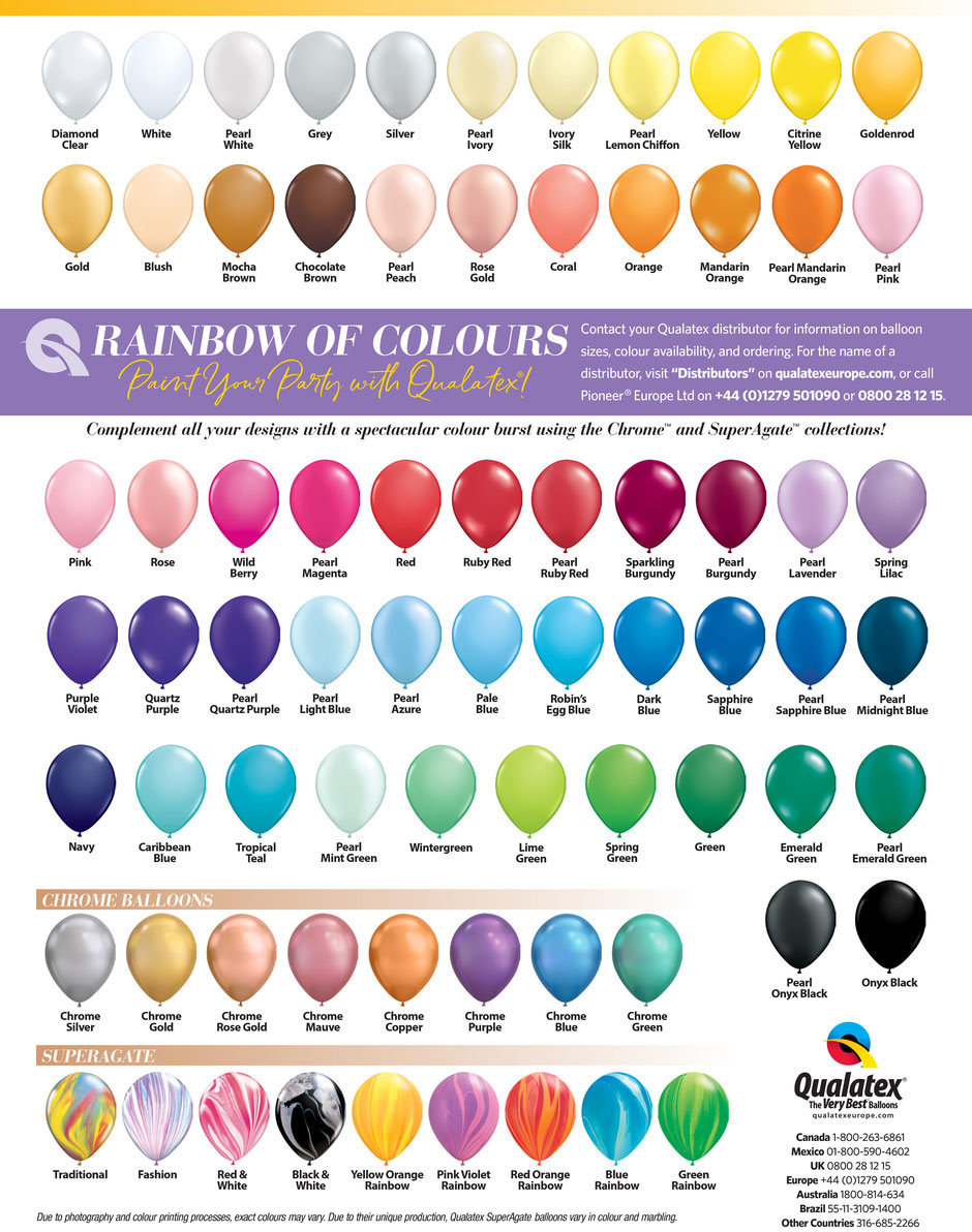 Qualatex Farbkarte Color Chart Luftballon Ballon Farben