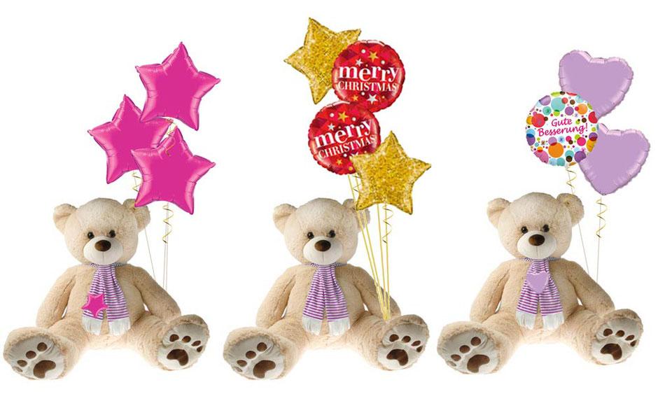 Teddy Teddybär Bär Plüschtier xxl Riesenteddy Ballon Luftballon Heliumballon Bouquet Geschenk merry Christmas Geburtstag Gute Besserung krank Krankenhaus Mitbringsel Überraschung Mädchen Junge Weihnachten