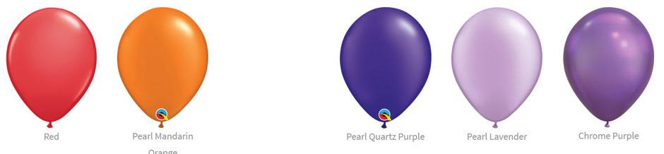 Ballon Luftballon Latexballon Qualatex Premium Qualität Bio Eco kompostierbar rot orange mandarin purple red lila lavendel violett chrome pearl glanz Heliumballon mit Helium Versand verschicken befüllt