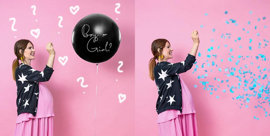 Luftballon Ballon Boy or girl Mädchen Junge Baby Geburt was wirds Geschlecht Kind Nachwuchs Überraschung Heliumballon Versand aus der Box  Latexballon Babyparty Babyshower Shower Konfetti rosa hellblau blau pink Konfettiballon
