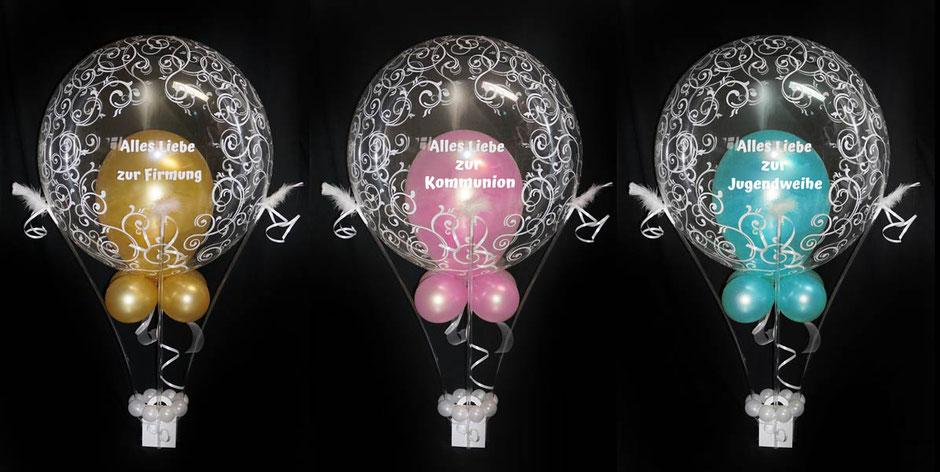 Ballon Luftballon mit Name personalisiert Personalisierung Geschenk Mitbringsel Geld Geldgeschenk Heißluftballon Schnörkel Kommunion Firmung Jugendweihe Konfirmation gold rosa blau mint grün Deko Tischdeko