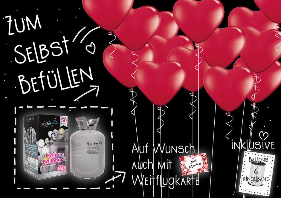 Helium Set party ballon Heliumballons inklusive Ringelband Weitflugkarten Hochzeit Polterabend Trauung Weitflug selbst befüllen Versand mi DIY Ballongas für bis zu 50 Ballons Baloonify Paket Einwegflasche Flasche
