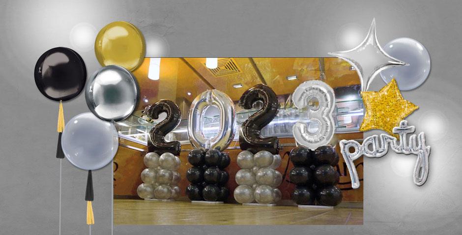 Ballondeko Orbz Bubble Folienballon Stern party Schriftzug 2021 Silvester Neujahr  Silvesterparty Feier Ballon Luftballon schwarz silber gold Glitzer Tassel Dekoration