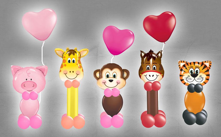 Luftballon Ballon Heliumballon Folienballon Tierballon Tiere Schwein Giraffe Affe Pferd Tiger Löwe Herz Geburtstag Geschenk Mitbringsel Kindergeburtstag Deko Dekoration Versand verschickt Ballongruß Ballonpost Ballonbox Box Mädchen Junge witzig Ballontier