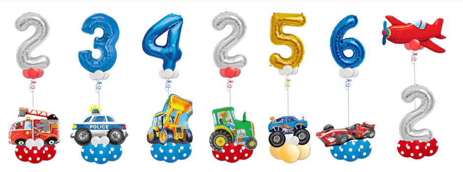 Luftballon Ballon Heliumballon Folienballon Ballongeschenk Ballongruß Bouquet Feuerwehr Polizei Bagger Traktor Monster Truck Formel 1 Rennwagen Flugzeug Fahrzeuge Geburtstag Kindergeburtstag Deko Dekoration  XXL Zahl Geburtstagszahl Junge