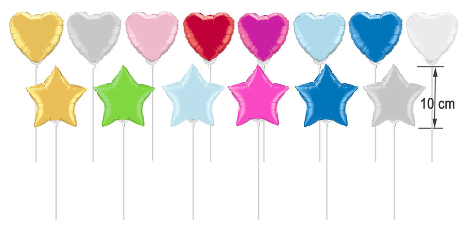 Miniballons Luftballon mini 10 cm 20 cm klein auf Stab Stäbchen mit Cup unbefüllt befüllt gold silber rosa pink rot hellblau dunkelblau weiß grün lime green