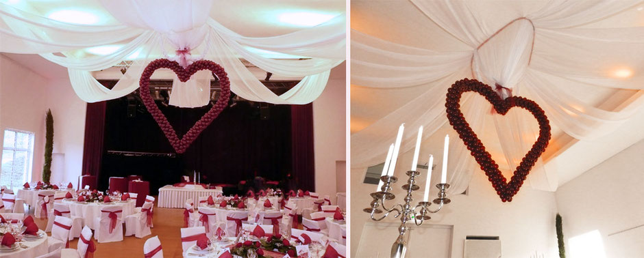 Deko Dekoration Hochzeit Polterabend Festsaal Saal Decke Herz Luftballon Ballon xxl riesig Schmuck Baldachin