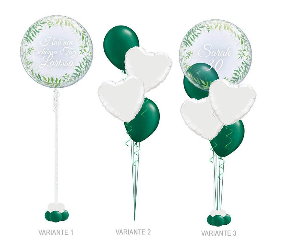 Luftballon Ballon Bubbleballon Bubble Wunschbubble Heliumballon Blätter Efeu Bubble Geburtstag Dekoration Deko Feier Party elegant edel Geburtstag mit Name personalisiert Personalisierung beschriftet Geschenk Idee Mitbringsel Überraschung Versand