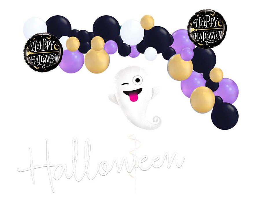 Ballongirlanden Set Happy Halloween DIY Set Girlande selbst machen gestalten erstellen basteln Ballon Luftballon Geist Gespenst Ghost Party Feier Deko Dekoration Idee schwarz gold lila weiß