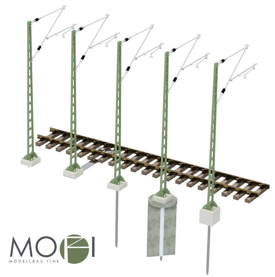 Verschiedene Aufbaumöglichkeiten der Oberleitung von Modellbau Fink für die Gartenbahn.