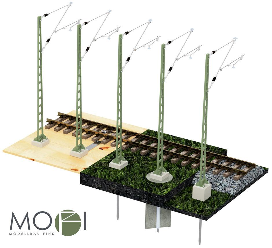 Die individuell aufbaubare Oberleitung für die Modellbahn von Modellbau Fink.