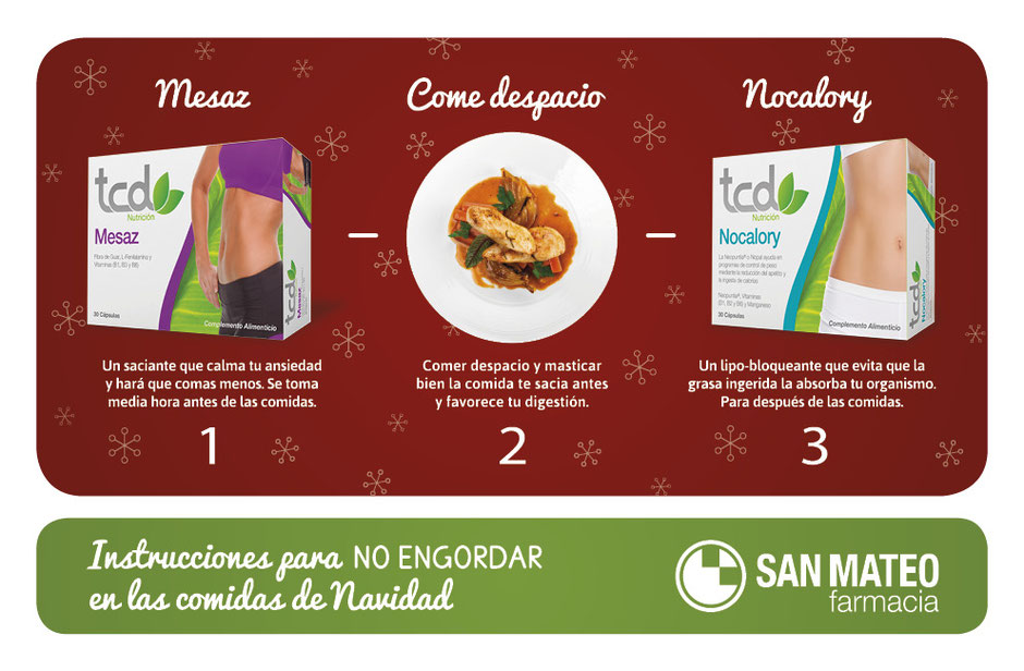 3 pasos sencillos para no engordar en Navidad - Farmacia San Mateo Alicante