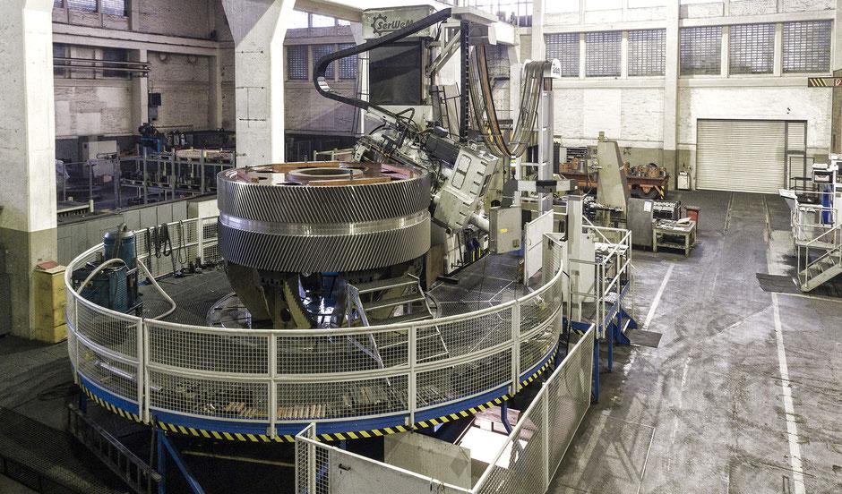 Getriebetechnik Dessau, Verzahnungs-Wälzfräsmaschine, maximaler Durchmesser 6300 mm