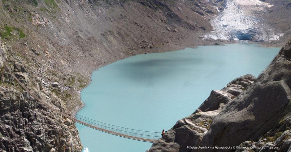Gletschersee Berner Oberland, Glacier lake Switzerland, Triftbrücke, Glescher Hängebrücke Schweiz, Glacier Suspension Bridge Switzerland