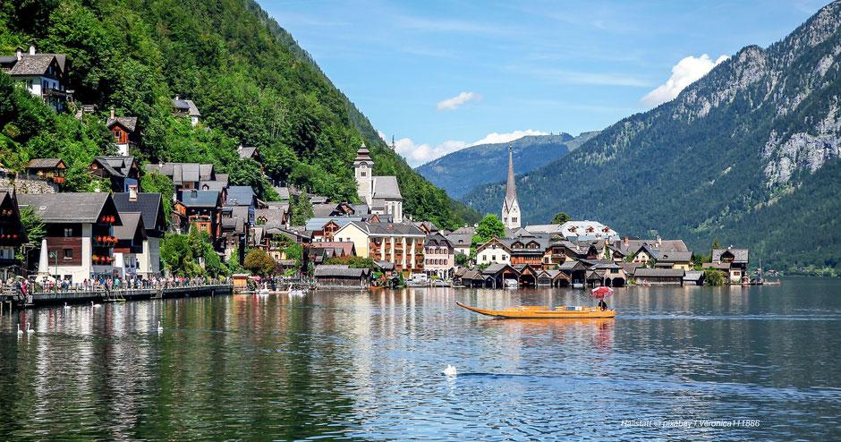 Hallstatt, Hallstätter See, Plättenfahrt, Schifffahrt, Kalendermotiv, Naturjuwele, Schönheit, Gebäude