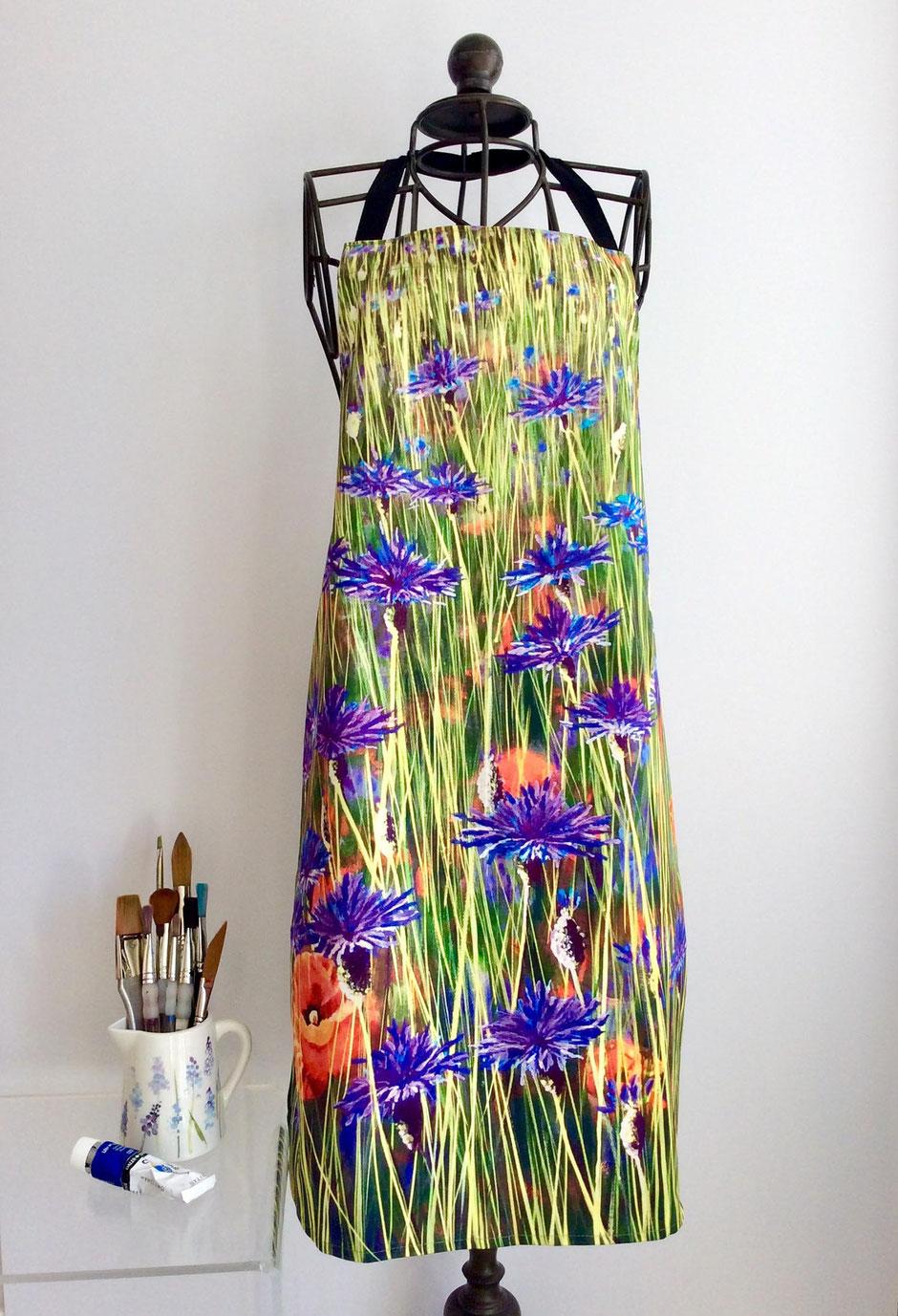 cornflowers cotton apron
